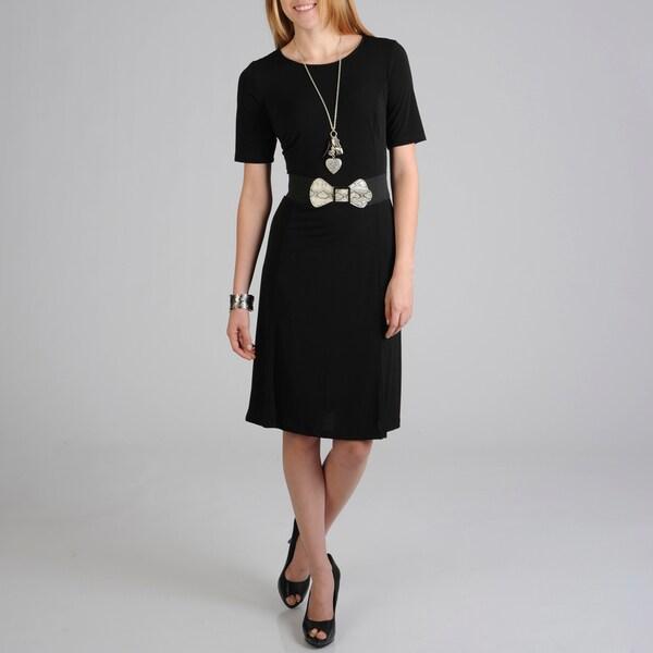 Sharagano Women's Black Fashion Belt Knit Dress