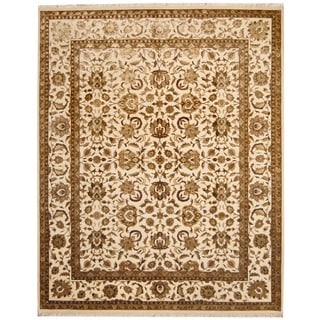 Herat Oriental Indo Hand-knotted Tabriz Ivory/ Gold Wool/ Silk Rug (8' x 10')