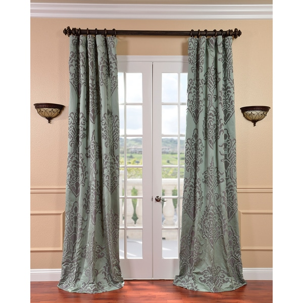 Exclusive Fabrics Minerva Aqua/ Plum Faux Silk Jacquard Curtains