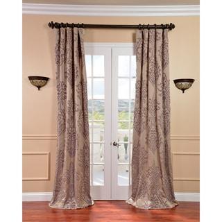 Exclusive Fabrics Minerva Taupe/ Plum Faux Silk Jacquard Curtains