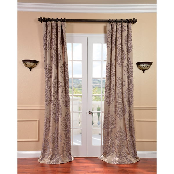 Exclusive Fabrics Minerva Taupe/ Plum Faux Silk Jacquard Curtains