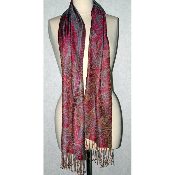 Hand-woven Silk Turquoise/ Coral Scarf (India)