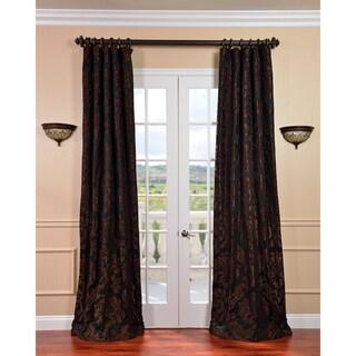 Exclusive Fabrics Astoria Black/ Cognac Faux Silk Jacquard Curtains