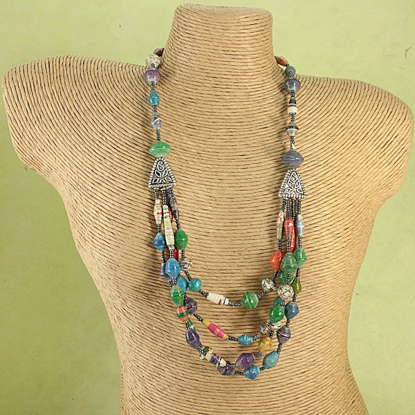 Handcrafted Recycled Paper Beads Four Strand Tribal Necklace (Kenya)