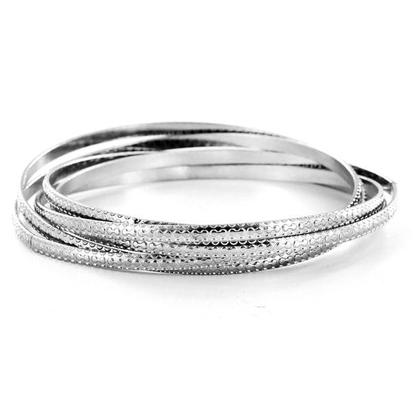 Stainless Steel Engraved Design Bangle Bracelet Set
