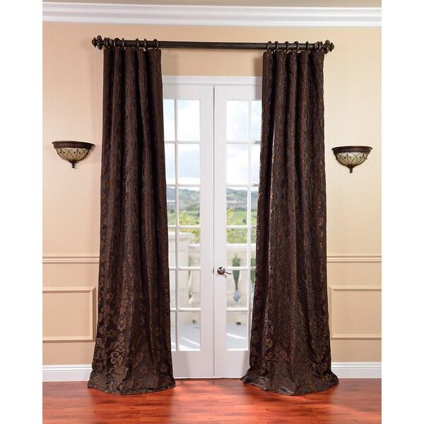 Exclusive Fabrics Medici Black/ Pewter Faux Silk Jacquard Curtains