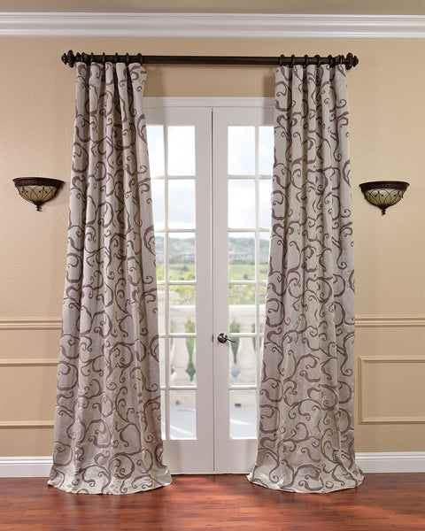 Exclusive Fabrics Calypso Silver/ Plum Faux Silk Jacquard Curtains