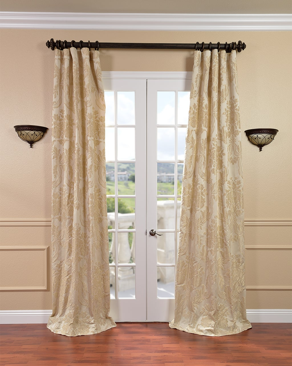 Exclusive Fabrics Magdelena Champagne Faux Silk Jacquard Curtain Panel