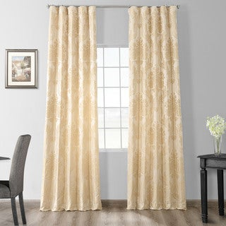 Link to Exclusive Fabrics Magdelena Champagne Faux Silk Jacquard Curtain Panel Similar Items in Window Treatments