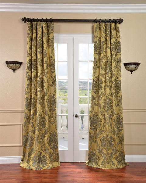Exclusive Fabrics Magdelena Gold/ Blue Faux Silk Jacquard Curtains