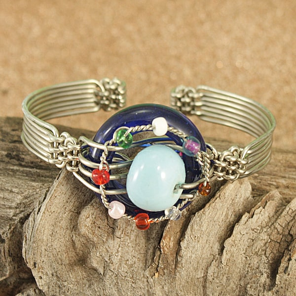 Handcrafted Recycled Glass Ring Tribal Wire Cuff Bracelet (Kenya)