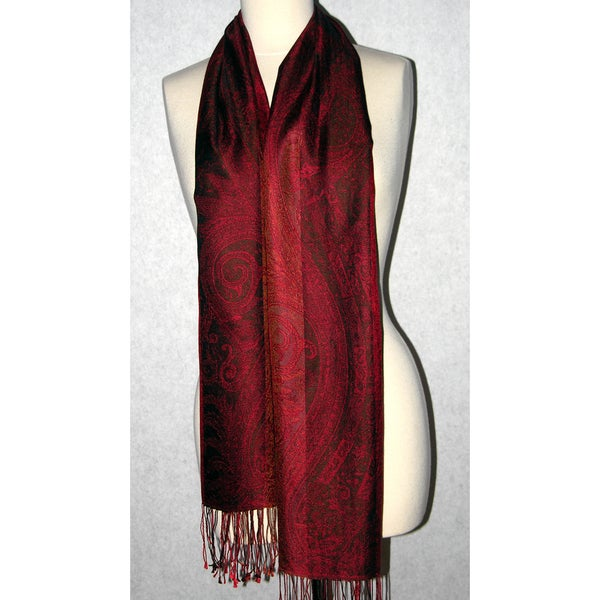 Handwoven Silk Deep Jewel Scarf (India)