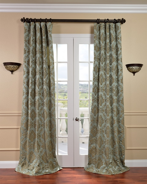 Exclusive Fabrics Amalfi Aqua/ Bronze Faux Silk Jacquard Curtains