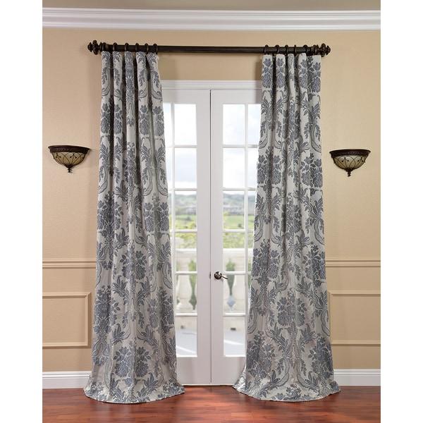 Exclusive Fabrics Magdelena Silvertone/Blue Faux Silk Jacquard Curtain Panel
