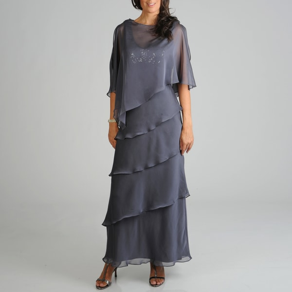 Ignite Evenings Women's Tiered Evening Cape Gown