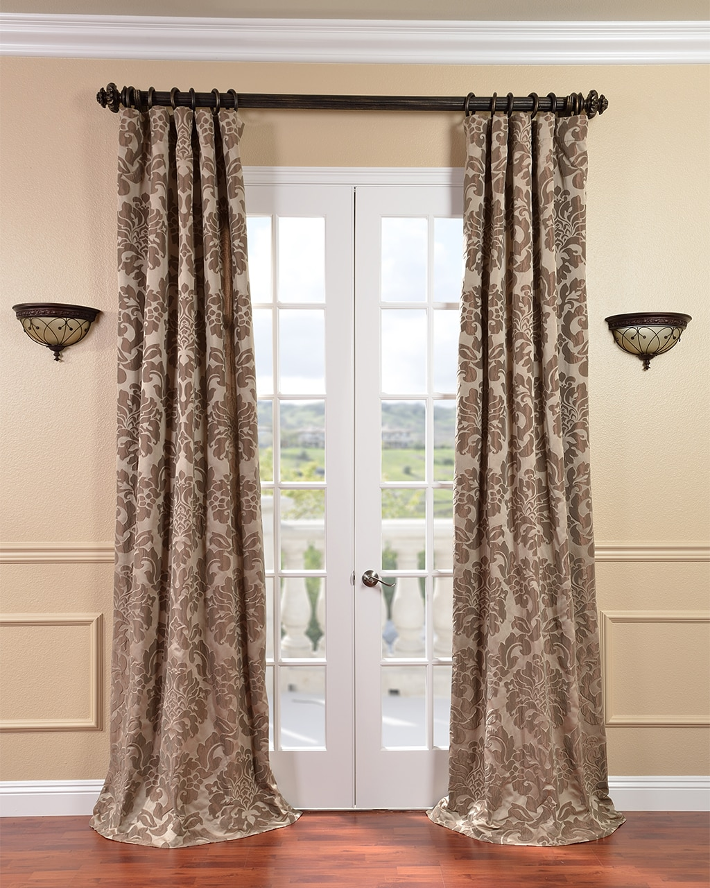 Exclusive Fabrics Astoria Faux Silk Taupe/ Mushroom Jacquard Curtains