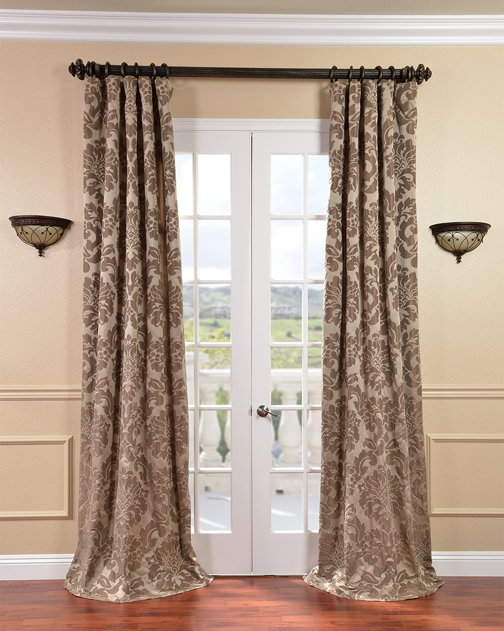 EFF Astoria Faux Silk Taupe/ Mushroom Jacquard Curtains