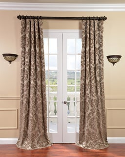 Exclusive Fabrics Astoria Faux Silk Taupe/ Mushroom Jacquard Curtain Panel