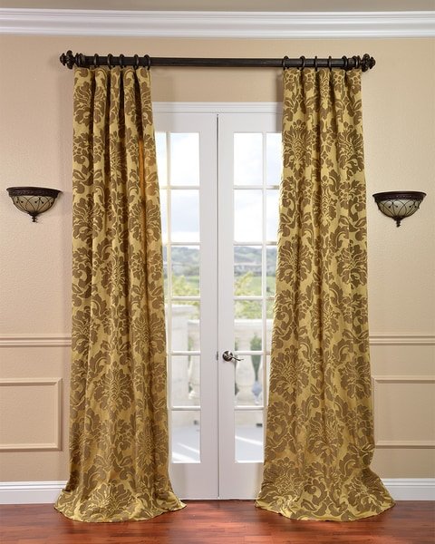 Exclusive Fabrics Astoria Gold/ Bronze Faux Silk Jacquard Curtain Panel