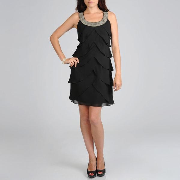 S.L. Fashions Women's Multi Tiered Evening Dress