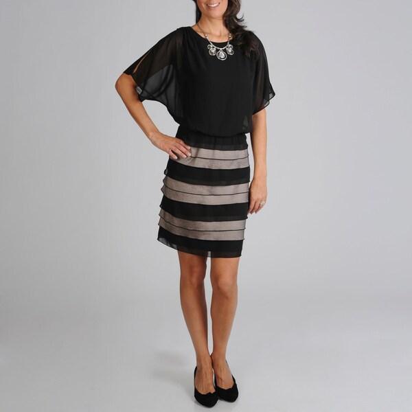 S.L. Fashions Women's Blousson Tiered Skirt Evening Dress