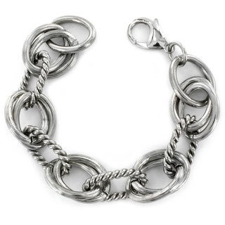West Coast Jewelry Stainless Steel Interlocking Polished and Ridged Oval Bracelet