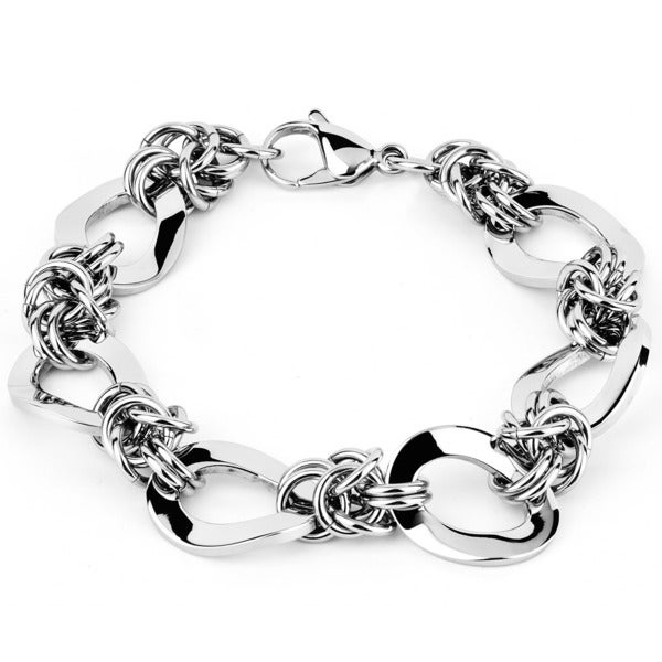 West Coast Jewelry Stainless Steel Interlocking Oval Twist Chain Link Bracelet