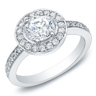 Auriya 14k White Gold 1 1/2ct TDW Certified Diamond Halo Engagement Ring (H-I, SI1-SI2)