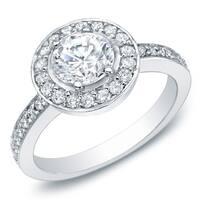 Auriya 14k White Gold 1 1/2ct TDW Certified Round Halo Diamond Engagement Ring