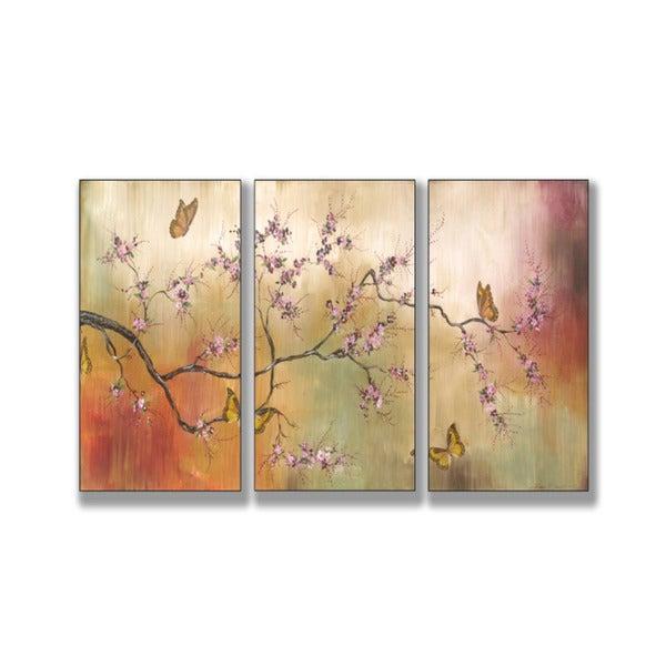 Pink Blossoms and Butterflies Triptych Art (17 x 33)