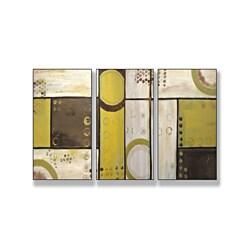 Industrial Circles Beige Triptych Art (17 x 33)