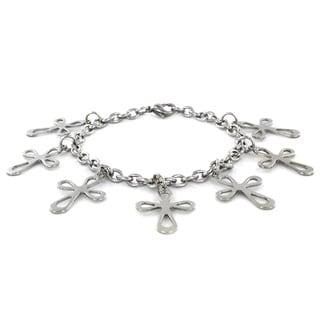 ELYA Stainless Steel Infinity Cross Charm Bracelet