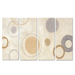 Aqua Circle on Beige Quadtych Art (17 x 38)