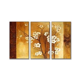 White Floral Crimson Back Triptych Art (17 x 33)
