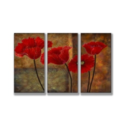 "Poppies on Spice Triptych Art (17"" x 33"")"