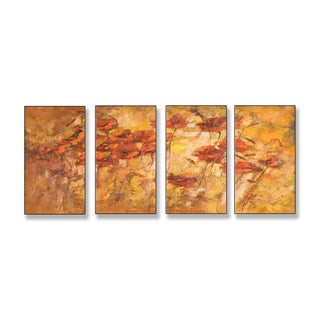 Fall Wind Scene Quadtych Art (17 x 38)