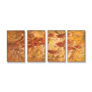 Fall Wind Scene Quadtych Art (17 x 38)