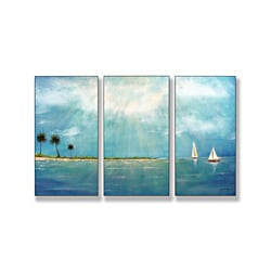 Azure Breeze Triptych Art (17 x 33)
