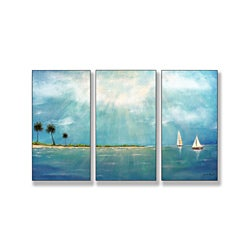 Azure Breeze Triptych Art (17 x 33)