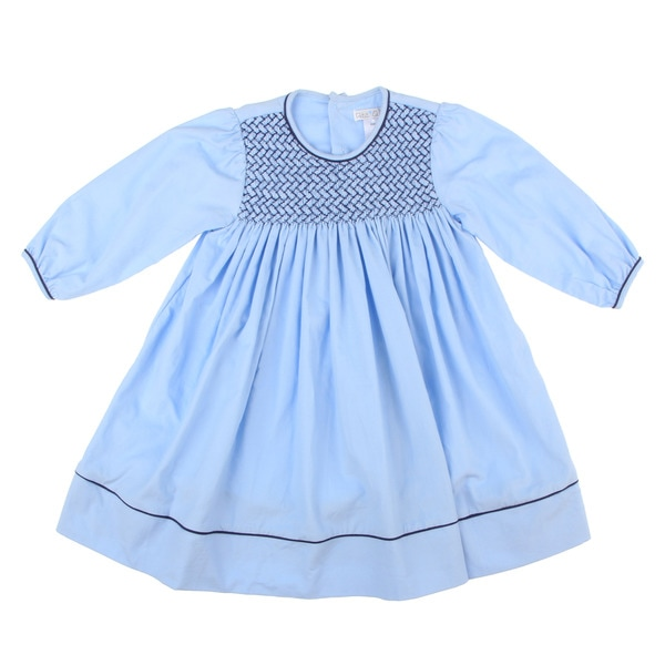 Petit Ami Toddler Girl's Blue Smocked Collar Dress FINAL SALE