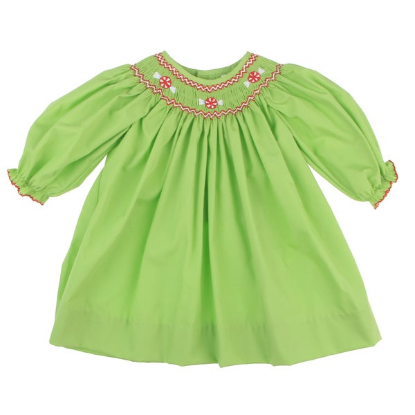 Petit Ami Newborn Girl's Lime Smock Collared Dress