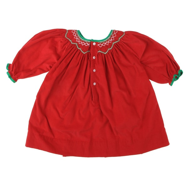 Petit Ami Newborn Girl's Red Smocked Collar Dress FINAL SALE