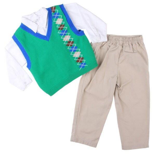 Petit Ami Toddler Boy's 3-piece Pant Shirt Vest Set