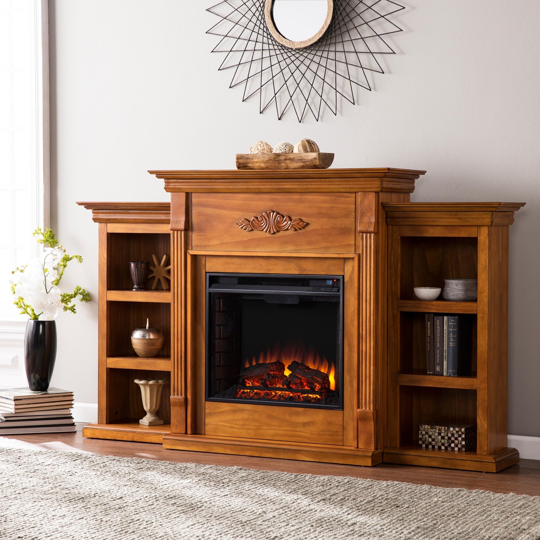 Harper Blvd Dublin 70-inch Glazed Pine Electric Fireplace...