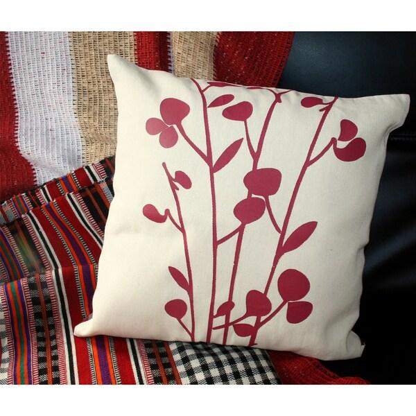 Hand-woven Cotton Crimson Print Natural Pillow Cover (India)