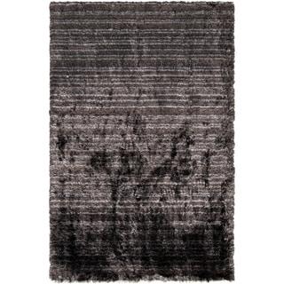 Hand-woven Emory Grey Plush Shag Rug (2' x 3')