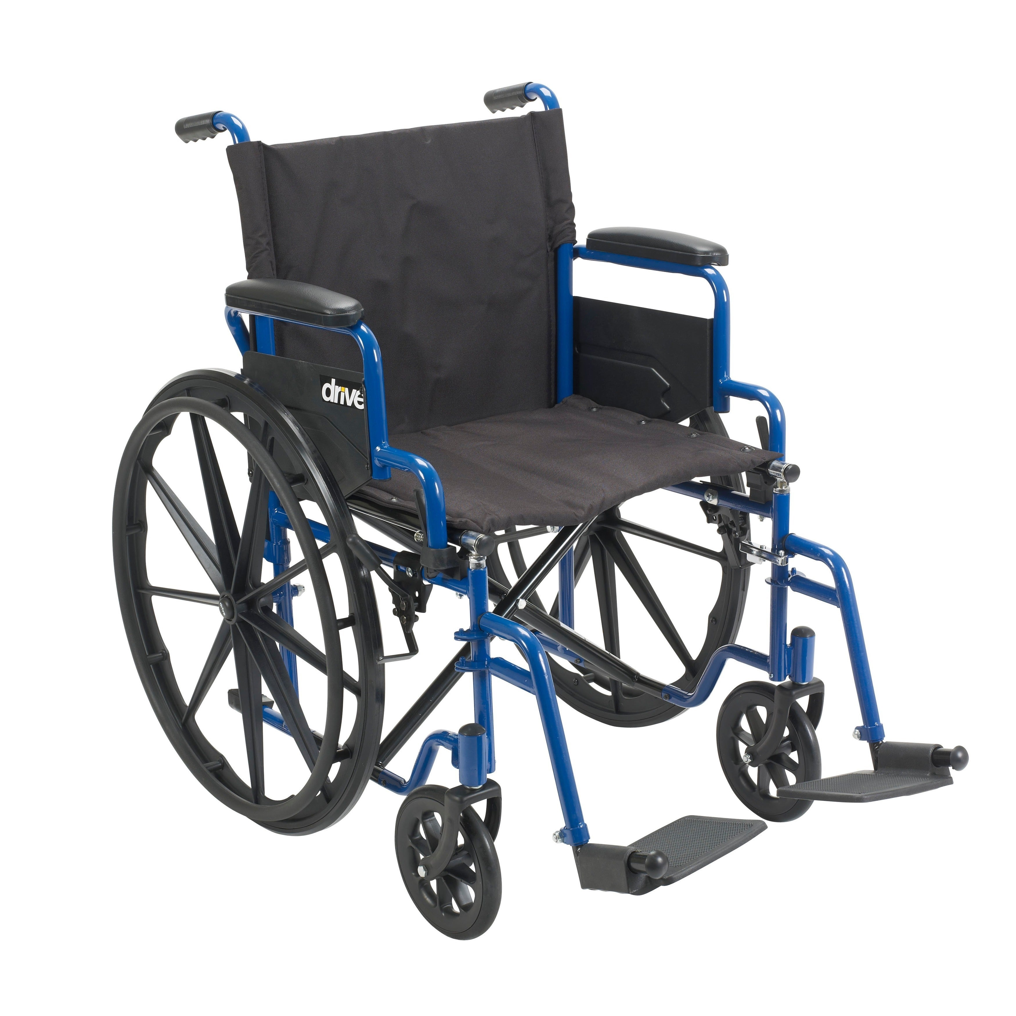 Admirable Drive Medical 20 Inch Wide Blue Streak Wheelchair With Flip Back Desk Arms Machost Co Dining Chair Design Ideas Machostcouk