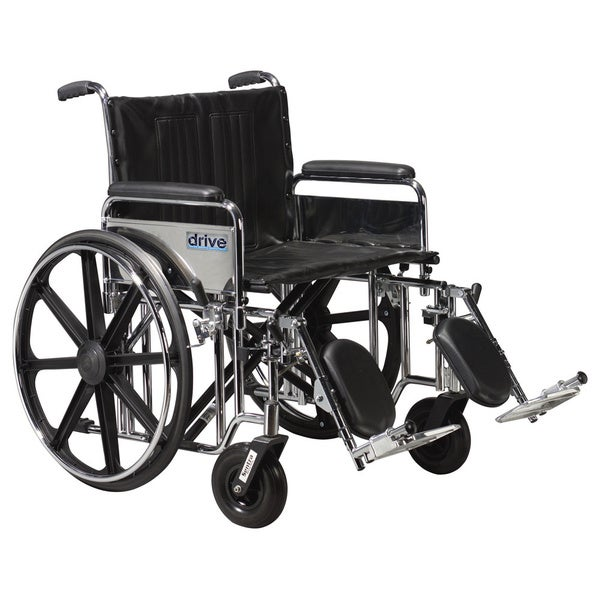 Sentra Extra Heavy Duty Wheelchair with Padded Armrests and Aluminum Footrests