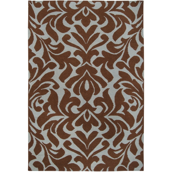 Hand-woven Fruitvale Brown Wool Rug (2' x 3')