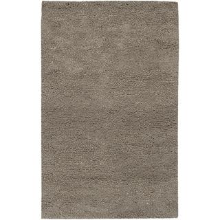 Hand-woven George Grey Wool Plush Shag Rug (2' x 3')